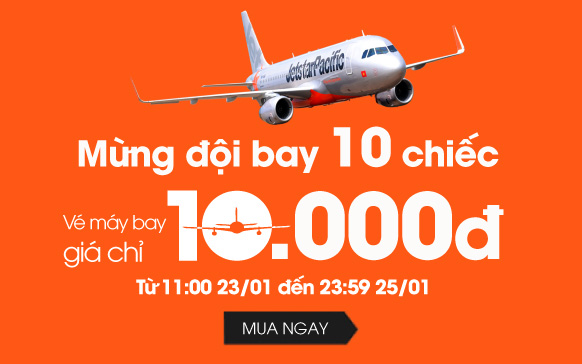 Khuyến mại mừng đội bay 10 chiếc của Jetstar