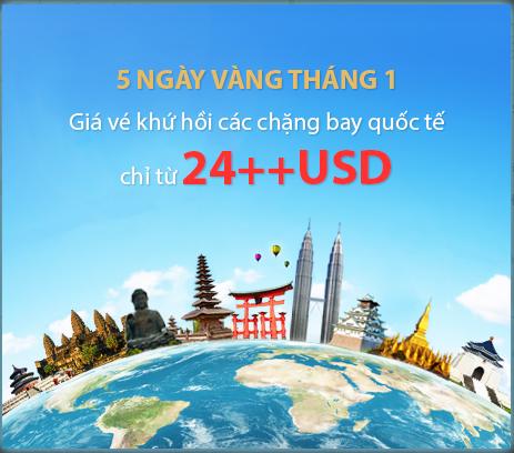 Ưu đãi 5 ngày vàng tháng 1 của Vietnam Airlines