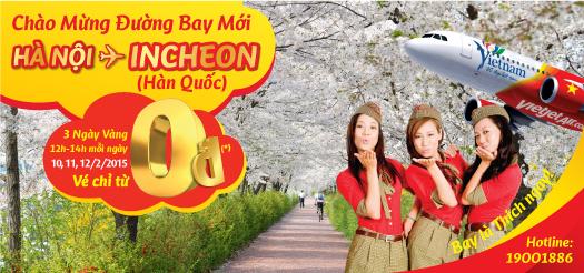 Siêu khuyến mại Vietjet mừng đường bay Hà Nội – Incheon