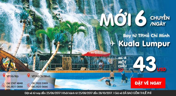 Dễ dàng đến Luala Lumpur 6 chuyến/ngày, vé chỉ từ 43 USd cùng Air Asia