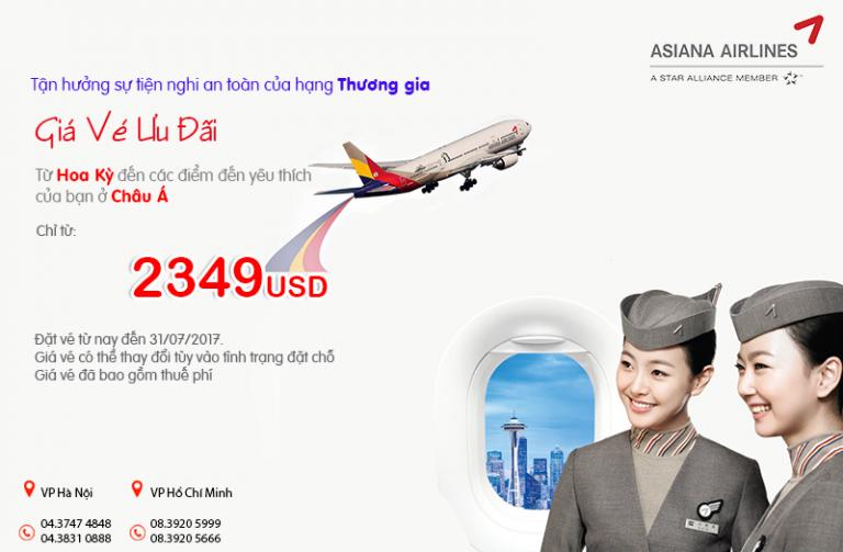 Chẳng ngại bay xa với vé khứ hồi Thương gia từ 2.349 USD từAsiana Airlines