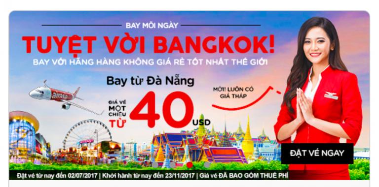 Air Asia mở đường bay mới Đà Nẵng – Bangkok, giá vé chỉ từ 40 USD ưu đãi