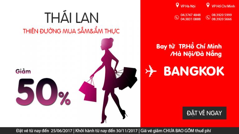 Siêu KM vui hè – Air Asia giảm đến 50% giá vé đi Bangkok