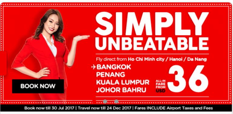 Săn vé từ 36 USD siêu tiết kiệm – Du lịch Châu Á cực chất cùng Air Asia