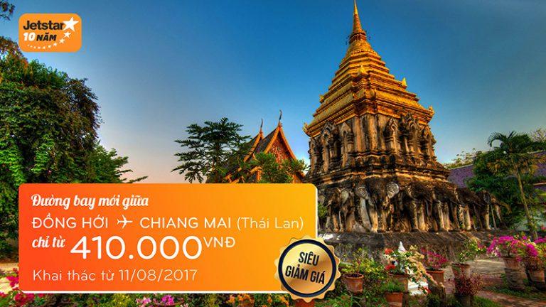 Hot: Jetstar mở đường bay mới Đồng Hới – Chiang Mai, giá siêu rẻ chỉ từ 410k