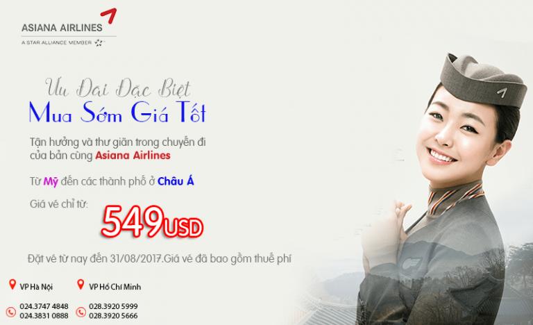 Đặt vé Asiana Airlines sớm giá tốt, vé khứ hồi chỉ từ 549 USD
