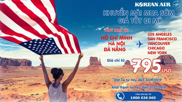 Vé khứ hồi từ 795 USD – Một kì nghỉ tuyệt vời tại Mỹ cùng Korean Air