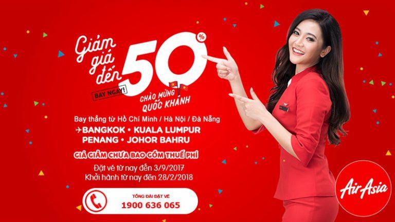 Bay ngay Đông Nam Á, giá giảm tới 50% – KM vàng nhân dịp Quốc khánh của Air Asia