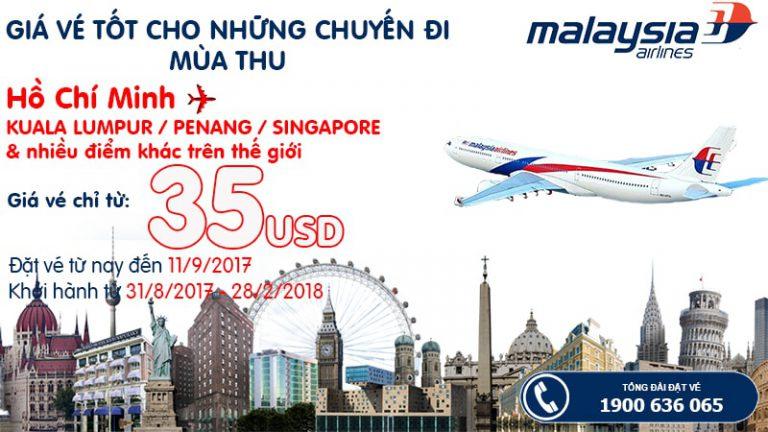 Tận hưởng ưu đãi mùa thu – Du ngoạn khắp nơi với vé từ 35 USDcùng Malaysia Airlines