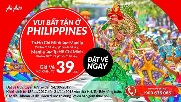Dễ dàng bay thẳng Manila từ TP.HCM với ưu đãi vé từ 39 USD của Air Asia