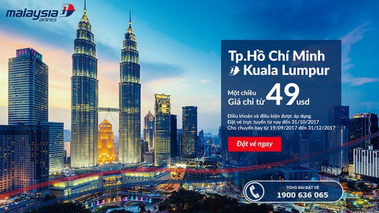 Bay bao xa vé của Malaysia Airlines cũng chỉ từ 49 USD ưu đãi