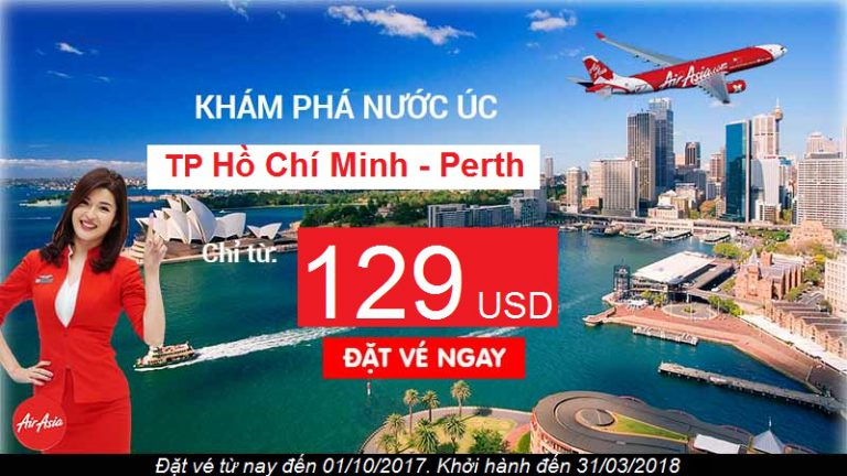 Đến Úc cùng Air Asia giá tốt, Hồ Chí Minh đi Perth vé chỉ từ 129 USD