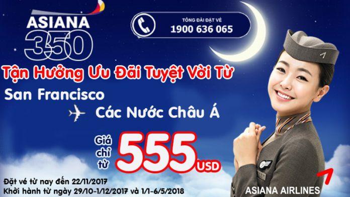 Asiana Airlines KM vé khứ hồi đi Châu Âu giá rẻ chỉ từ 555 USD