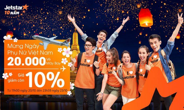 Jetstar KM khủng, 20.000 vé giảm giá chỉ còn từ 48k đúng ngày 20/10