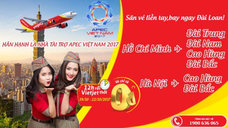 Vietjet Air mở bán 40.000 vé 0Đ đến Đài Loan – Thỏa sức bay không lo về giá