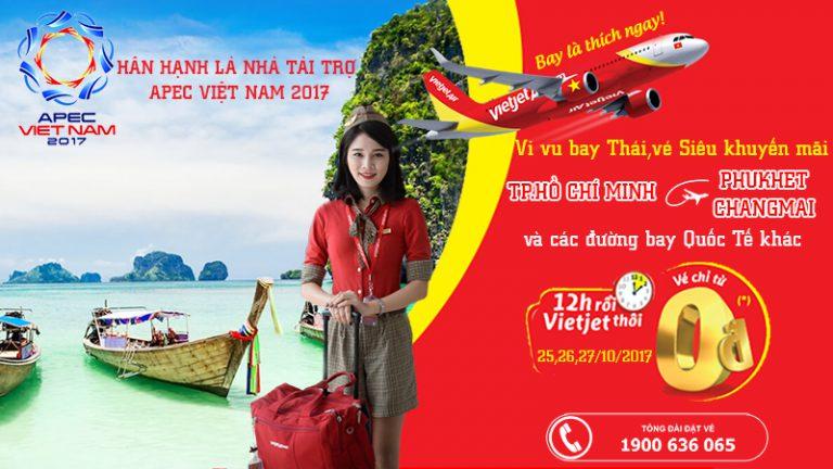 Bay quốc tế không lo – Vietjet tài trợ 180.000 vé 0 đồng du lịch siêu rẻ