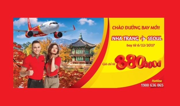 Vietjet KM vé từ 880.000Đ ưu đãi, mừng đường bay mới Nha Trang – Seoul