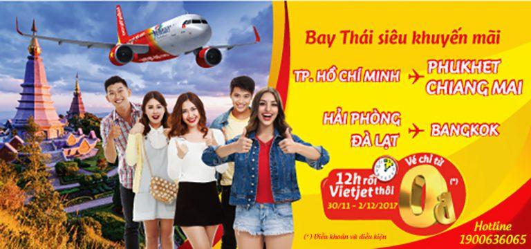 3 ngày mê say săn 15.000 vé 0 đồng bay Thái Lan cùng Vietjet